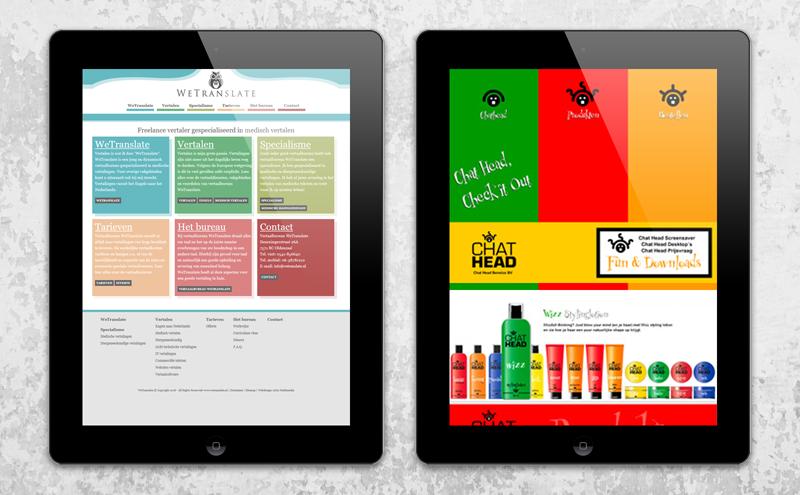 Webdesign voorbeeld Arloz, website portfolio klanten: WeTranslate en Chathead