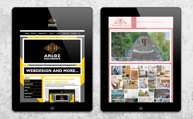 Webdesign voorbeeld, portfolio WordPress ontwerp klanten: Arloz en Vakantiehuis Murol