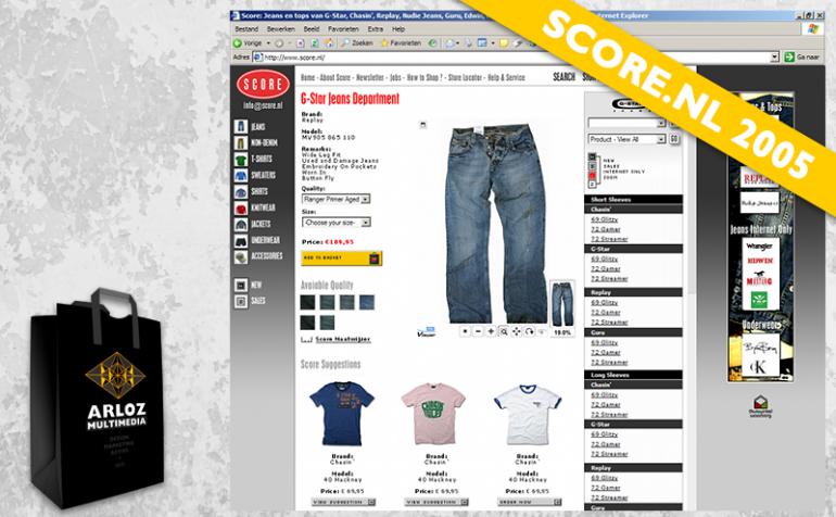 Ecommerce design webshop Score.nl 2005 Arloz