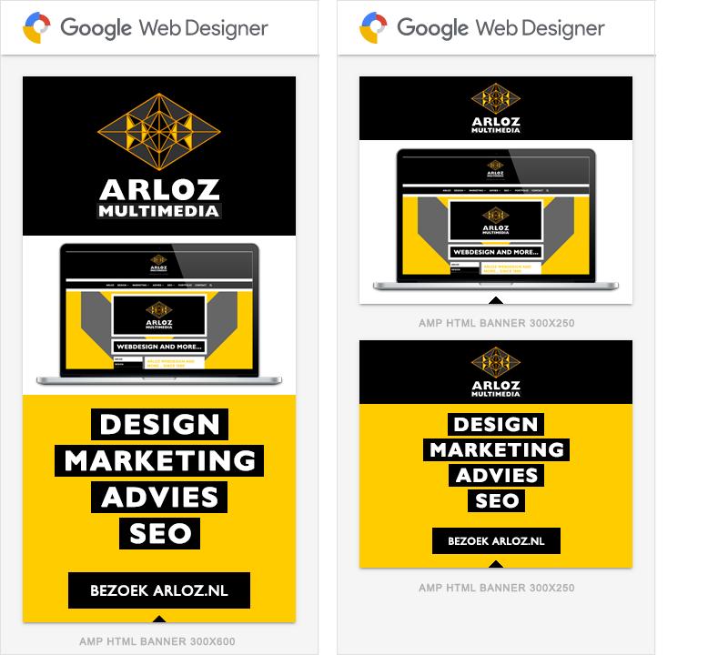 AMP HTML advertentie Google Web Designer, Ads AMP 300x600 en 300x250 banner voorbeeld door Arloz!