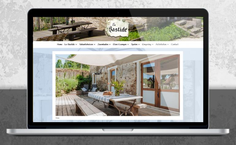 WordPress responsive webdesign vakantiehuis La-Bastide laptop portfolio voorbeeld Arloz
